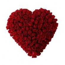 75 красных роз в виде сердца